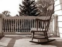 heirloom rocking chair on the back porch