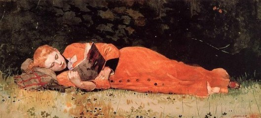 The New Novel (1877) by Winslow Homer